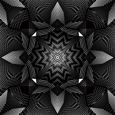 graphical: Ornate vector monochrome abstract background with overlapping black lines. Symmetric decorative graphical pattern, geometric stripy illustration.