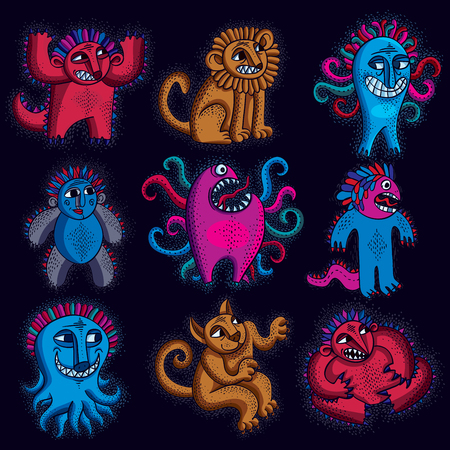 snoot: Set of character monsters vector illustration, collection of cute mutants. Cat playing, cool kitty isolated, funny toy. Sitting lion with teeth and beautiful mane. Mascot symbol, graphic design.