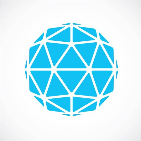 Dimensional vector blue low poly object, trigonometry shape. Technology 3d spherical element made with triangular facets for use as design form in engineering.