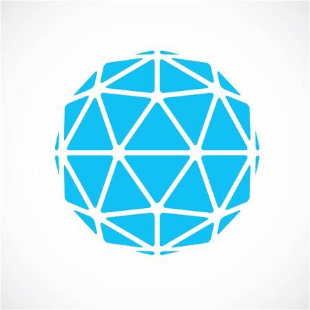 vecteur dimensionnel bleu faible objet poly, la forme de la trigonométrie. Technologie élément sphérique 3D réalisé avec des facettes triangulaires pour une utilisation en tant que forme de conception en ingénierie. Vecteurs