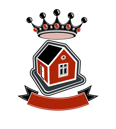 royal house: Imperial coat of arms, royal house conceptual symbol. Protection shield with 3d king crown. Majestic heraldic vector design element.