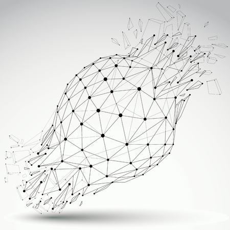 Perspective technology demolished shape with black lines and dots connected, polygonal grayscale wireframe object. Explosion effect, abstract faceted element cracked into multiple fragments.