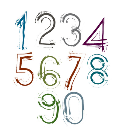 Handwritten light vector numbers, stylish numbers set drawn with ink brush. Illustration