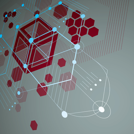 retro patterns: Modular Bauhaus 3d vector red background, created from simple geometric figures like hexagons and lines. Best for use as advertising poster or banner design.