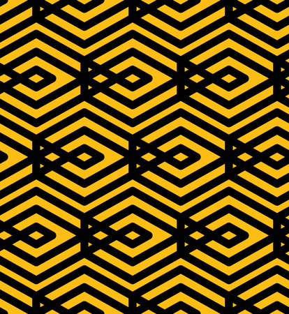 intertwine: Yellow endless vector texture with parallel black lines, motif abstract contemporary geometric background. Creative symmetric continuous pattern with intertwine rhombs.
