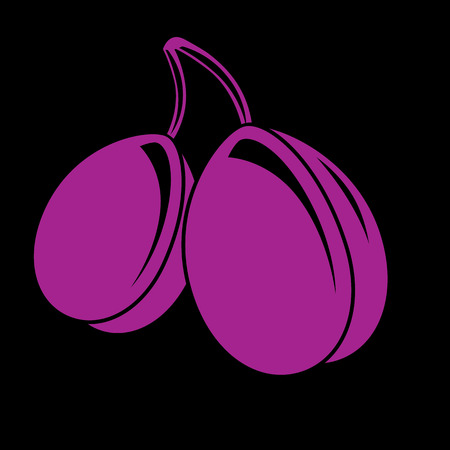 Two purple simple vector plums, ripe sweet fruits illustration. Healthy and organic food, harvest season symbol.