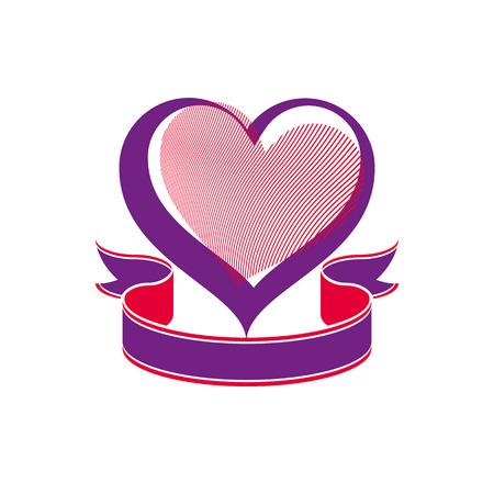 loving: Valentine�s day conceptual vector art illustration � loving heart with decorative ribbon. Wedding theme romantic element � beautiful valentine.