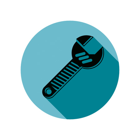 adjustable wrench: Adjustable wrench isolated on white, repair tool icon. Manufacture theme vector design element, detailed illustration of work instrument. Illustration