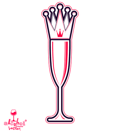 sparkling wine: Champagne glass with royal crown, decorative goblet full with sparkling wine. Queen of the evening conceptual illustration, celebration theme eps8 object. Illustration