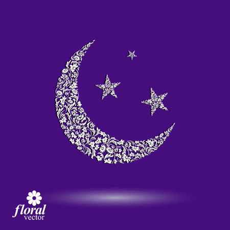 flowery: New Moon placed on a starry sky beautiful art vector illustration, flowery lullaby stylized icon, sleep time idea. Floral-patterned moony night image, can be used in advertising and web design.