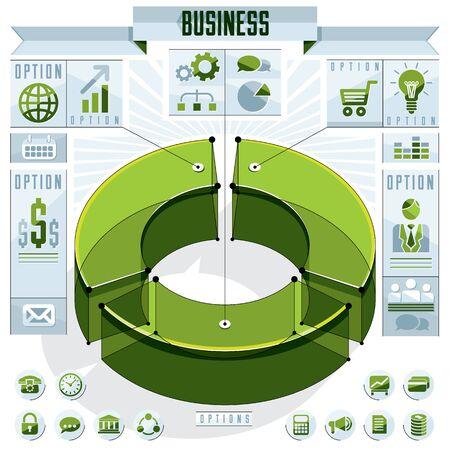 sectors: Creative infographics elements concept, 3d three sectors circle idea, vector layout illustration.