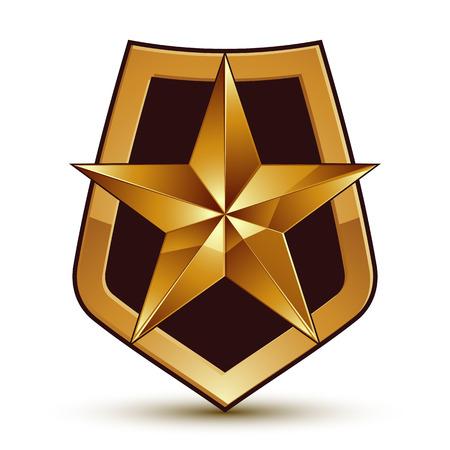 Vector stylized symbol isolated on white background.  Glamorous pentagonal golden star, clear EPS 8, symbolic insignia, aristocratic blazon. Illustration