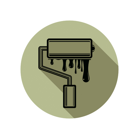 whitewash: Graphic vector illustration of paint roller with smears, renovation tool for wall painting. Repair instrument, can be used in web design.