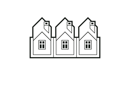 corporate image: Simple monochrome cottages vector illustration, black and white country houses, for use in graphic design. Real estate concept, region or district theme. Property developer abstract corporate image.