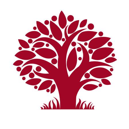 fertility: Tree with ripe apples, harvest season theme illustration. Fruitfulness and fertility idea symbolic image. Illustration