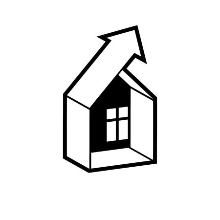 real estate industry: Growth trend of real estate industry. Simple vector house icon with an arrow showing up.