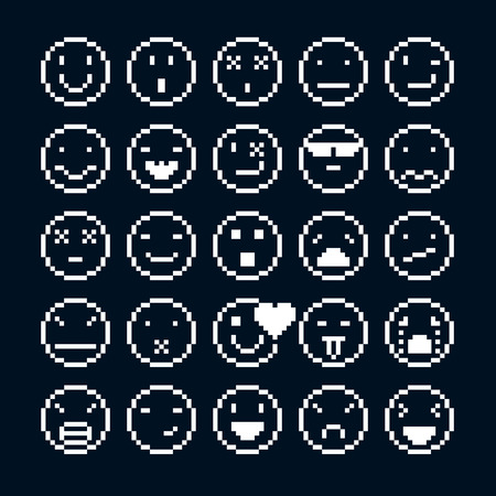 8bit: Set of vector retro signs made in pixel art style. Emotional expressions displayed on the faces of personalities, geometric pixilated symbols.
