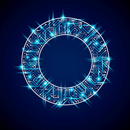 Round luminescent blue circuit board with electronic components of technology device. Computer motherboard cybernetic vector abstraction with flash effect. Illustration
