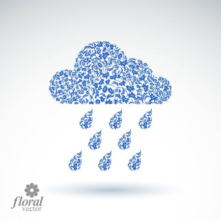 cold weather: Weather forecast vector icon, meteorology flower-patterned symbol. Cold season  abstract pictogram, storm cloud with falling rain drops.