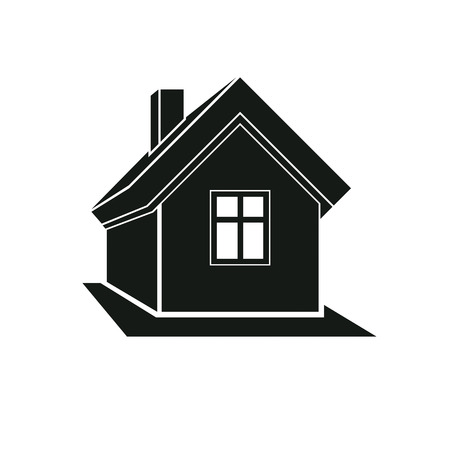 mansion: Simple mansion icon isolated on white background, vector abstract house. Country house, conceptual sign best for use in graphic and web design.