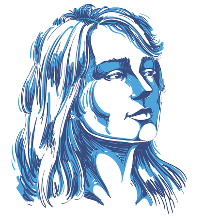 bemused: Vector portrait of attractive pensive woman thinking about something, illustration of good-looking female. Person emotional face expression.