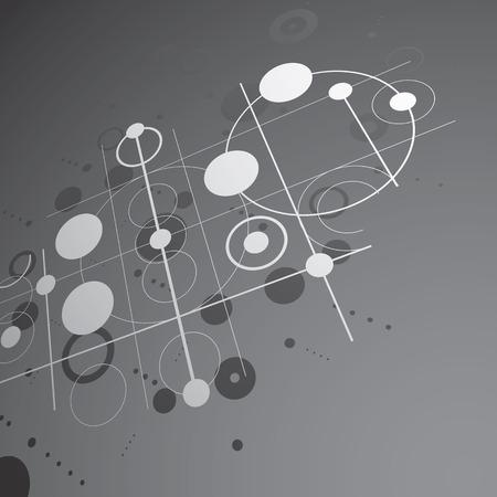 perspectiva lineal: composici�n Bauhaus arte tridimensional, perspectiva blanco y negro del papel pintado del vector modular con c�rculos y rejilla. patr�n de estilo retro, tel�n de fondo gr�fico para su uso como plantilla de la cubierta folleto.