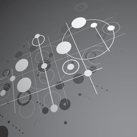 Bauhaus art dimensional composition, perspective black and white modular vector wallpaper with circles and grid. Retro style pattern, graphic backdrop for use as booklet cover template.