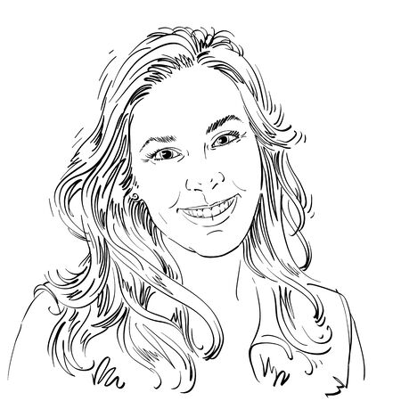 sincere: Hand-drawn vector illustration of beautiful smiling woman. Monochrome image, expressions on face of sincere young lady.