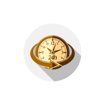 ticker: Twenty-four hours a day interface icon.  Time is running out idea symbol isolated on white, for use in advertising.