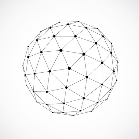 3d form made with black lines, futuristic origami abstract modeling. Gray vector low poly design element, cybernetic orb shape for use in science and technology.