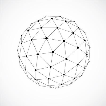 forma 3D de diseño con líneas negras, modelado abstracto origami futurista. vector gris baja poli elemento de diseño, forma orbe cibernético para su uso en la ciencia y la tecnología. Ilustración de vector