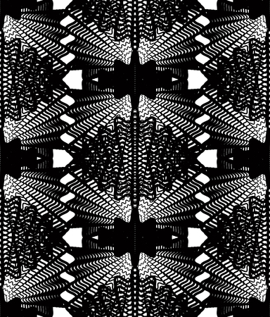 overlie: Vector monochrome stripy illusive endless pattern, art continuous geometric background with graphic lines and geometric figures. Kaleidoscope illustration. Illustration