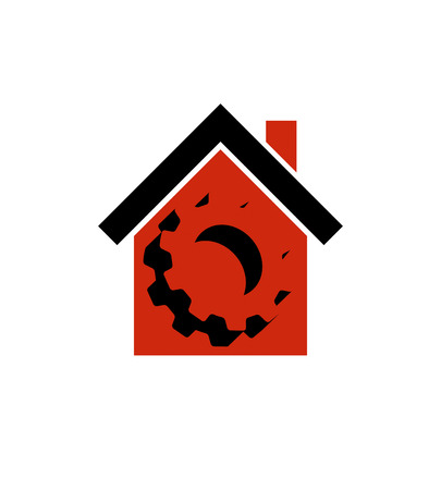 wheel house: Manufactory conceptual symbol, vector house with 3d cog wheel. Industry and production theme element, for use in web design. Illustration