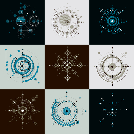 schemes: Set of modular Bauhaus vector backdrops, created from geometric figures like circles and lines. Best for use as advertising poster or banner design. Abstract mechanical schemes.