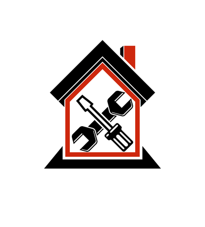 reconstruction: Spanner and screwdriver crossed, industrial theme, workshop symbol. Simple vector house with work tools, home reconstruction idea. Illustration