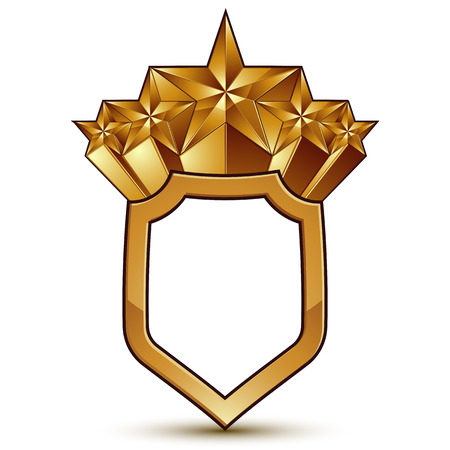 Branded golden geometric symbol, stylized golden polygonal star, best for use in web and graphic design, corporate vector icon isolated on white background.