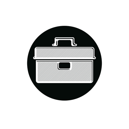 manufactory: Detailed vector illustration of tool box for keeping instruments. Repair and industry icon, can be used in graphic design.