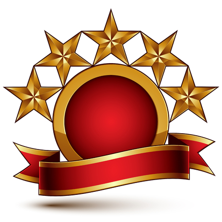 Geometric vector glamorous round element with red filling, 3d polished five golden stars branded symbol with festive ribbon. Dimensional decorative stars, elegant shaped blazon.