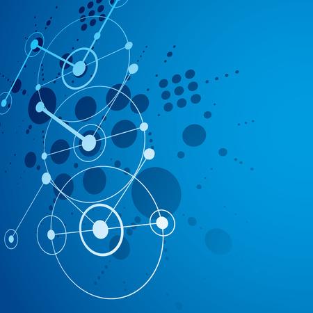 perspectiva lineal: Papel pintado retro Bauhaus, perspectiva azul del arte del vector de fondo hecha usando la red y círculos. Geométrica 1960 ilustración gráfica se puede utilizar como diseño de la cubierta folleto.