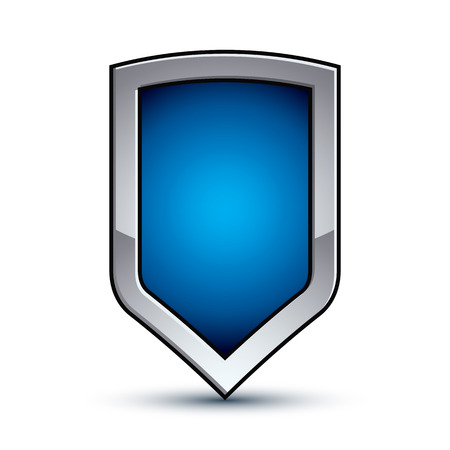 escutcheon: Heraldic vector blue emblem with silver outline, 3d conceptual defense geometric badge isolated on white background. Eps8 silver escutcheon isolated on white background. Dimensional decorative coat of arms.