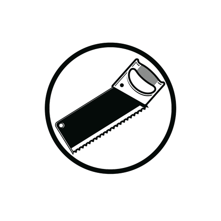 reparation: Industrial utensil with sharp teeth, simple hacksaw. Build and repair cutting instrument. Reparation theme vector design element, monochrome saw.