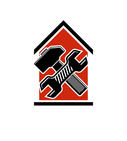 Spanner and mallet crossed, industrial utensil, building construction. Simple vector house with work tools, workshop. Home reconstruction idea, for use in web design. Vettoriali