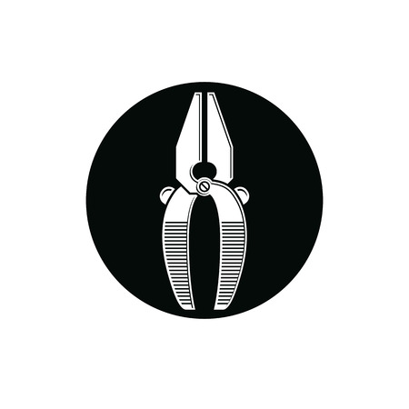 work tool: Detailed vector illustration of pliers, work tool. Industry utensil symbol placed in a circle, for use in advertising and web design. Illustration