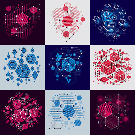 modular: Bauhaus art composition. Set of decorative modular vector wallpapers with circles and hexagons. Retro style patterns collection, graphic backdrops for use as booklet cover templates. Illustration