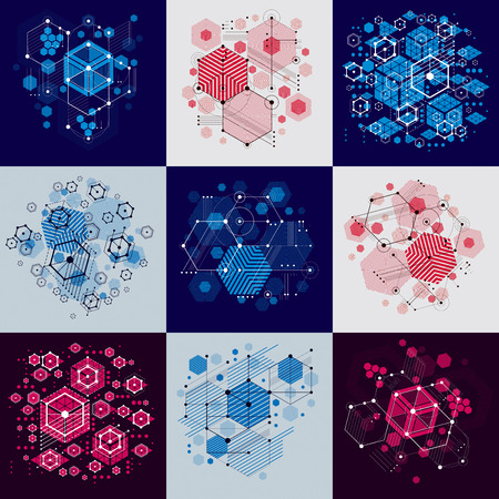 Collection of Bauhaus retro wallpapers, art vector backgrounds made using hexagons and circles. Geometric graphic 1960s illustrations can be used as booklets cover design.