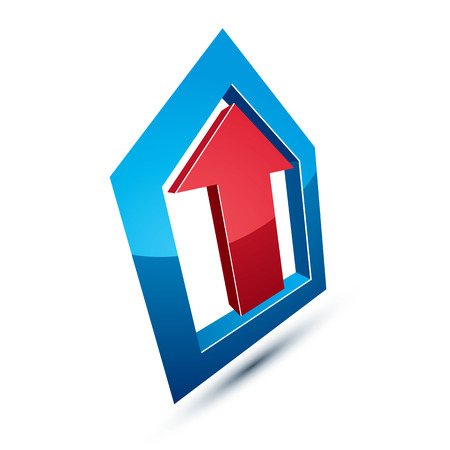 company growth: Three-dimensional graphic element with simple arrow, business development and technology innovation theme vector icon. Company growth concept, 3d abstract symbol.