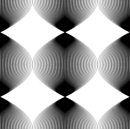 Vector monochrome stripy endless pattern, art continuous geometric background with graphic lines and rhombs.