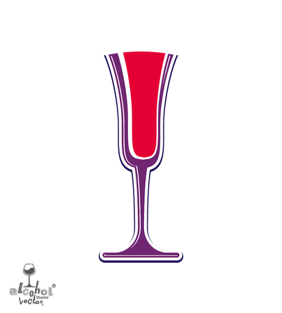 Classic vector champagne goblet with bubbles, alcohol beverage theme illustration. Lifestyle graphic design element – anniversary celebration idea, eps8.