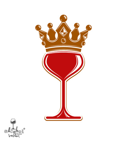 rendezvous: Sophisticated luxury wineglass with golden imperial crown. Leisure and lifestyle theme vector goblet. Rendezvous conceptual illustration.