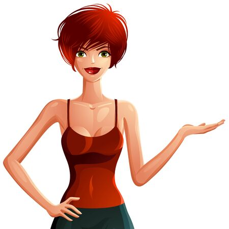 flirting: Sexy flirting woman upper body portrait. Beautiful red-haired female showing something to side with her hand or empty copy space. Illustration